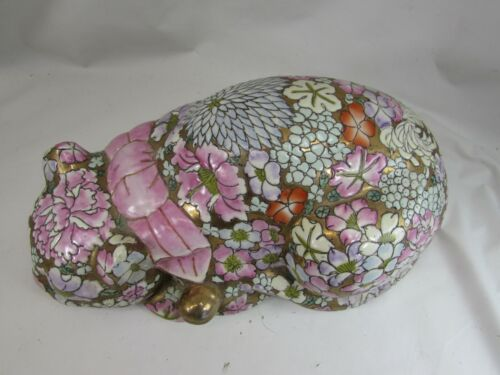 Vintage Chinese Porcelain Famille Rose Cat Reclining 52249