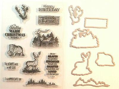 RUSTIC RETREAT Framelits Dies + clear stamps - deer bear cabin Christmas trees