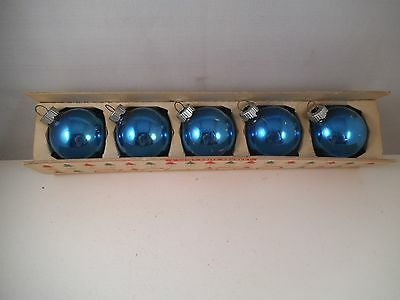 Vintage Lot of 5 Mercury Glass Christmas Ornaments Shiny Brite Blue USA