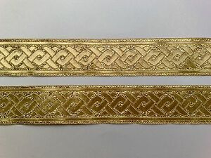5m Brokat Borte 1,54€/m Trachten 35 mm breit Farbe: Lurex-gold ET35069
