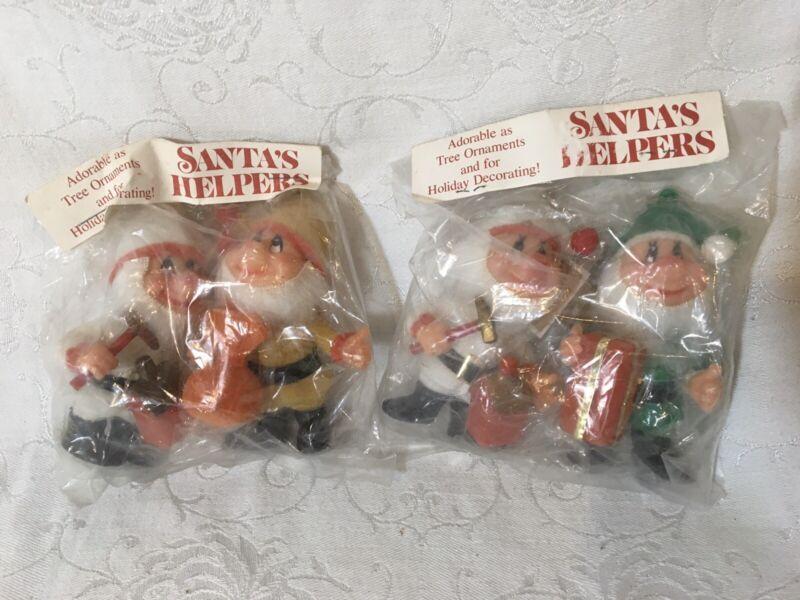 Vintage 4 Santa Helpers Ornaments Flocked Elves NOS Christmas