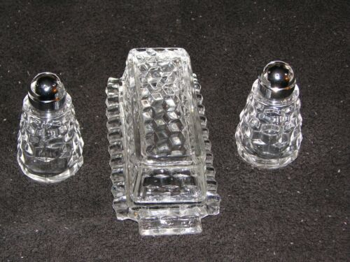 American Fostoria Vintage Salt n Pepper shakers and Butter Dish
