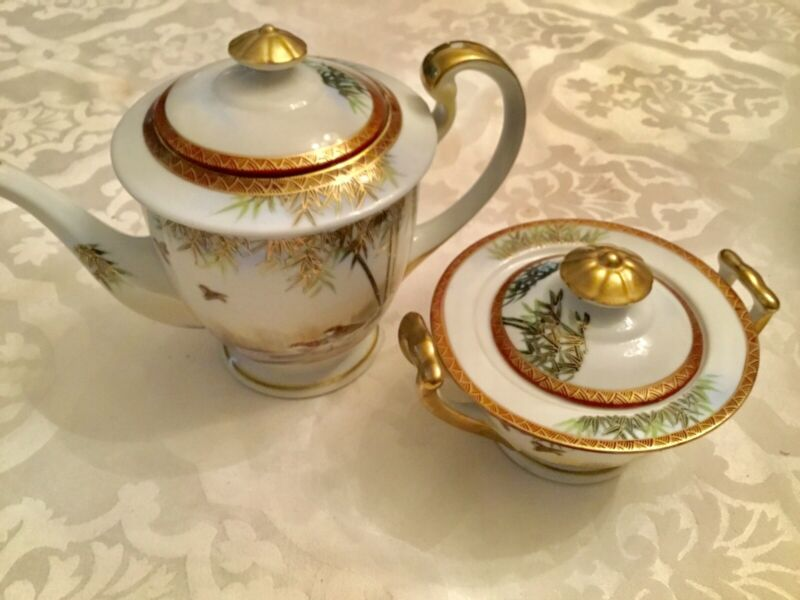 RARE 17th C. Signed Kutani Japan Porcelain Gilt Teapot And Sugar