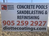 Concrete pool sandblasting, painting and repair