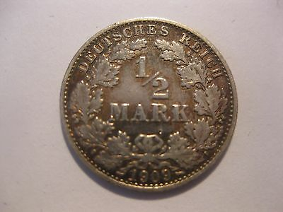 1/2 Mark  Buchstabe A  1909 Silber
