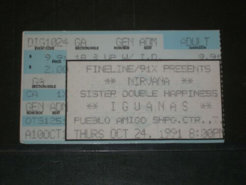 NIRVANA 1991 CONCERT TICKET STUB *IGUANAS CLUB*TIJUANA MEXICO*10/24/91 MEGA RARE