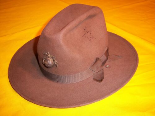 RARE 1908 DATED USMC STAR VENT FORE AFT ROLL BRIM CAMPAIGN HAT UNISSUED Sz 6.5