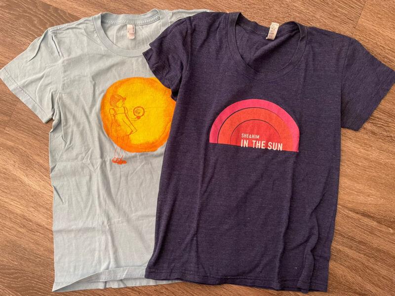 She & (and) Him 2 Shirt Lot RARE Zooey Deschanel SHIPS FREE Women's L In The Sun