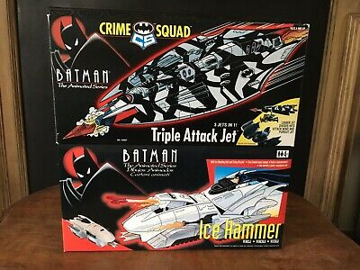 BATMAN ANIMATED ICE HAMMER C1994 & CRIME SQUAD TRIPLE ATTACK JET C1995