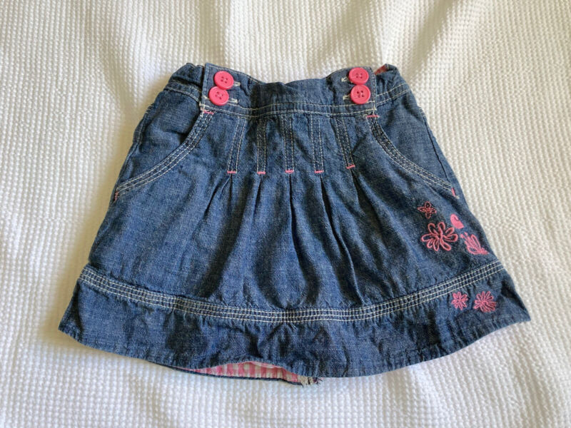 carhartt baby girls skirt with built in shorts chambray blue and pink