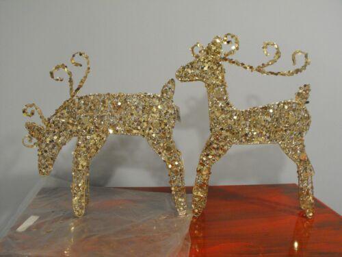 "Christmas Metal Sequin Reindeer Pair Antique Gold 14"" 18"""