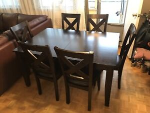 DINING SET EXTENDABLE TABLE WITH  6 CHAIRS