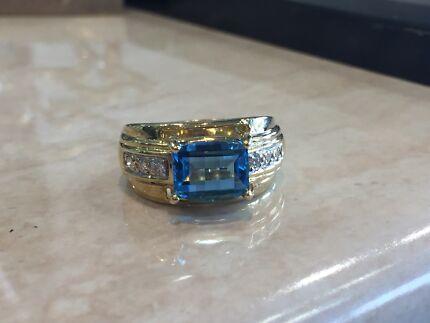Genuine Aquamarine Earrings Pendants 14 k White or Yellow Gold