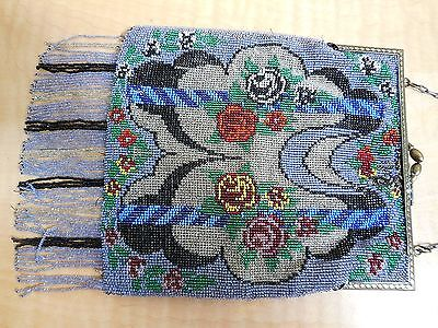 ANTIQUE  BEADED  HANDBAG  -  FLORAL  PATTERN  WITH  CHAIN  HANDLE