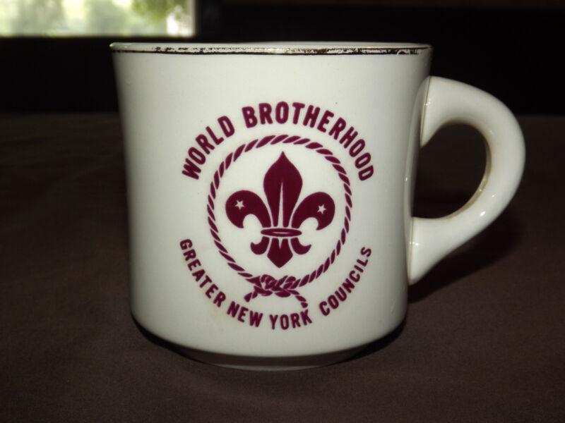 VINTAGE BSA BOY SCOUTS  COFFEE MUG WORLD BROTHERHOOD NEW YORK COUNCILS