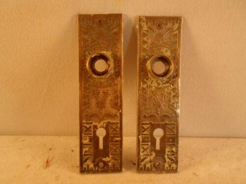 set of 2 matching Eastlake / Victorian door back plates!!! solid brass!!!