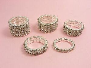 Stretch Wedding Bridal Austria Crystal Rhinestone Ring 1 Row 5 Row
