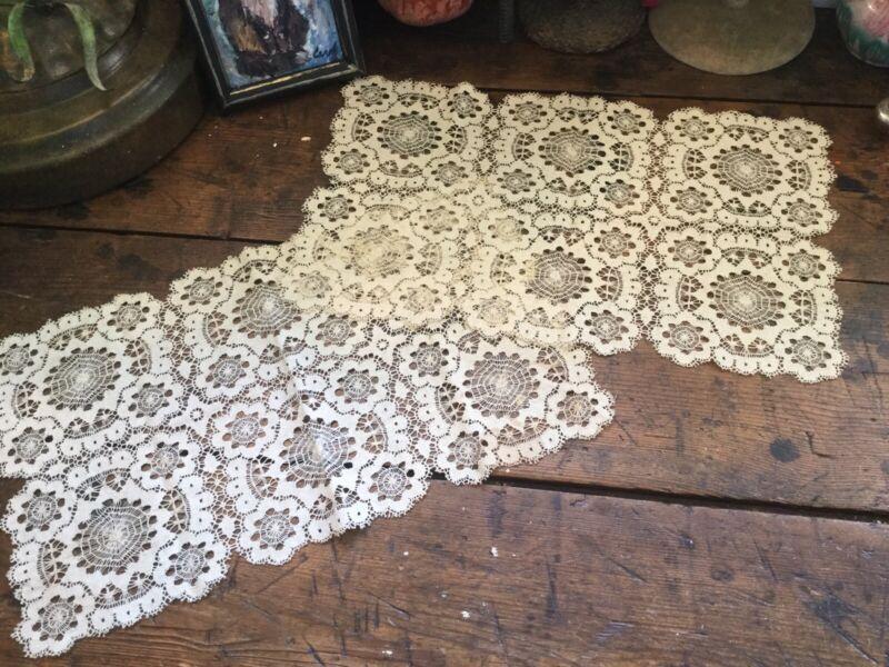 Antique Vintage Pair Ecru Lace Table Runners Doilies Spider Web Motif