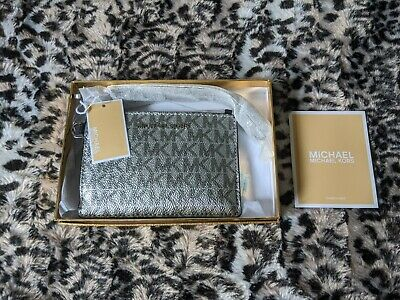 Geniune Michael Kors Metallic Money Pieces Leather Wristlet Coin Purse - Silver