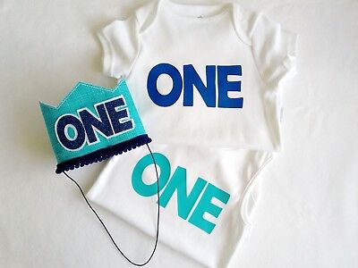 Boys First Birthday Party Crown and Matching 'One' Bodysuit. Blue Theme  (Boys First Birthday Theme)