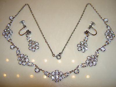 VTG Art Deco Crystal Open Back Bezel Sterling Silver Flower Necklace Earrings