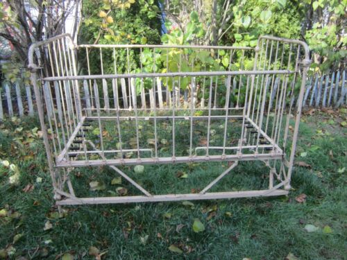 Antique Victorian Cast Iron Baby Crib Daybed Foldable Shabby Chic Farmhouse