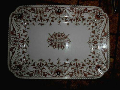 VTG T & R Boote Brown Transferware Large Serving Tray Platter - Tournay #33645