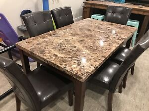Table and 6 leather chairs