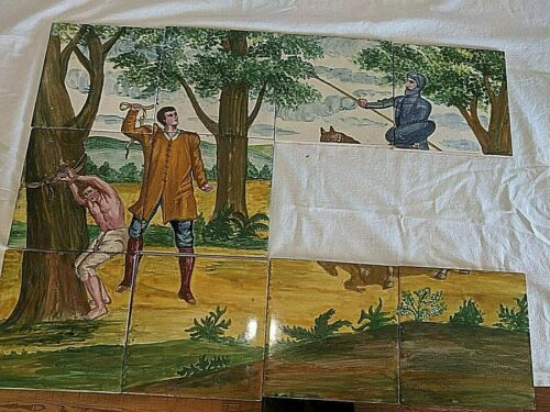 """Antique Vtg Hand Painted Mural Wall Tiles 6"""" BY 6"""" Slave Whipping Scene Partial"""