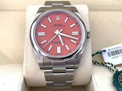 Rolex Oyster Perpetual 41 124300 Coral Red Dial 2021 UNWORN NEW Full Box Papers