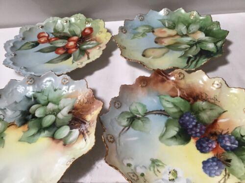 Antique M Z Austria 4 DESSERT PLATES Hand Made/Painted Signed Fruit Multicolor