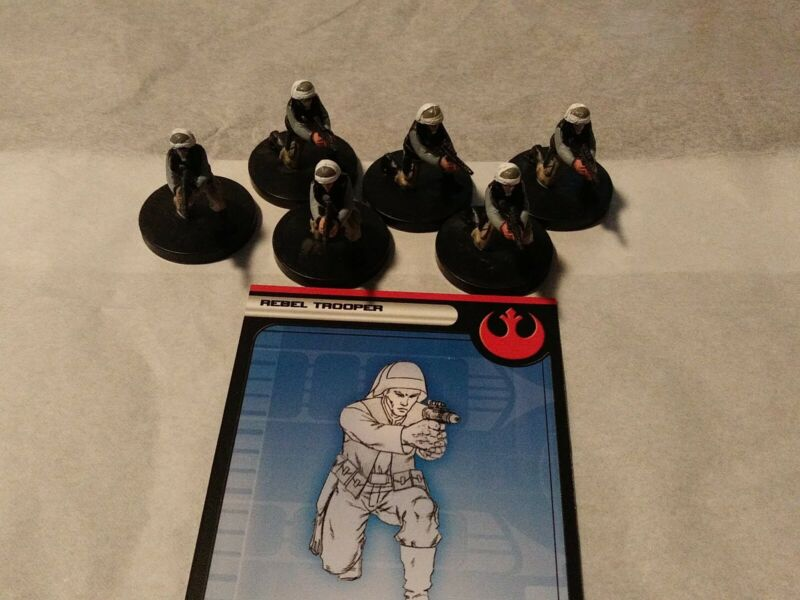 Star Wars Miniatures Rebel Trooper #18/60 with card lot of 6