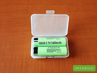 2x GENUINE PANASONIC NCR18650B 3400mAh 3.7V Li-ion Rechargeable Battery - JAPAN