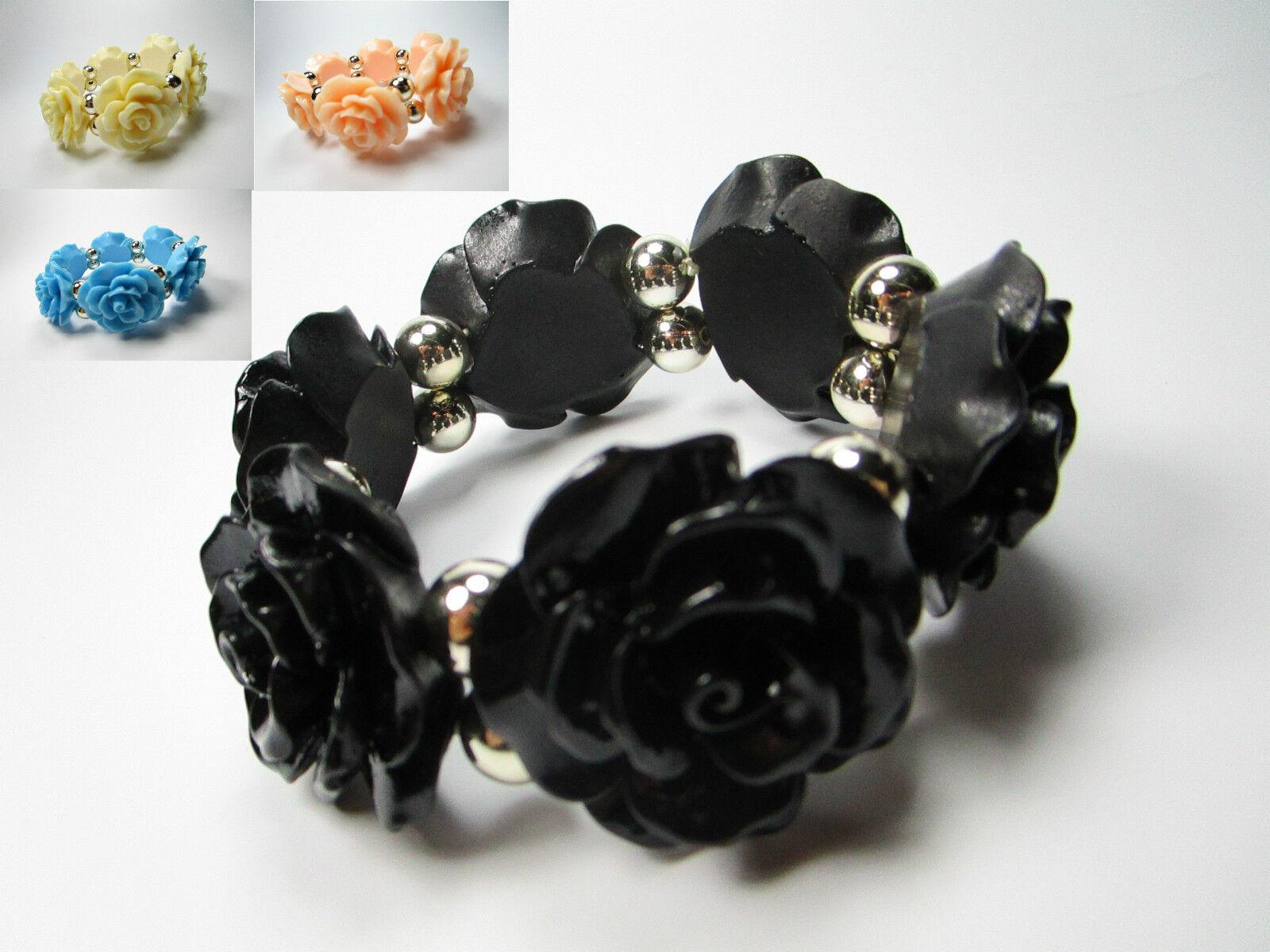 XL Damen Armband Armreif Armschmuck Rosen Blumen Perlen Stretch Acryl Übergröße
