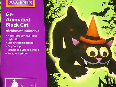 6' Animated Lighted Cat W/moving Head & Eyes Halloween Airblown Inflatable