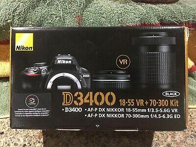 NEW!! Nikon D3400 24.2 MP Digital SLR Camera w/ NIKKOR 18-55 & 70-300mm VR Lens