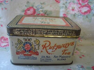 Antique RIDGWAYS H.M.B. Her Majesty's Blend TEA Advertising Tin
