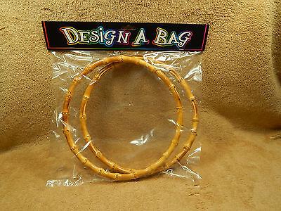 "Create A Bag Bamboo Purse Handles Handbag Tote Macrame Set of 6"" Circle Rings"
