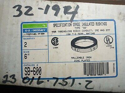 2- Oz Gedney Insulated Bushings 6 Bc-600 Imc-emt Threadless Ridgid Conduit Nos