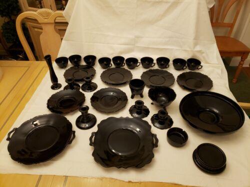 29 Pieces Black Amethyst Depression Glass Purple Hue When Backlit