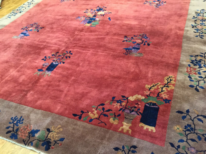 Authentic Hand Woven Antique Chinese Art Deco Rug 9'x12' Circa 1920s