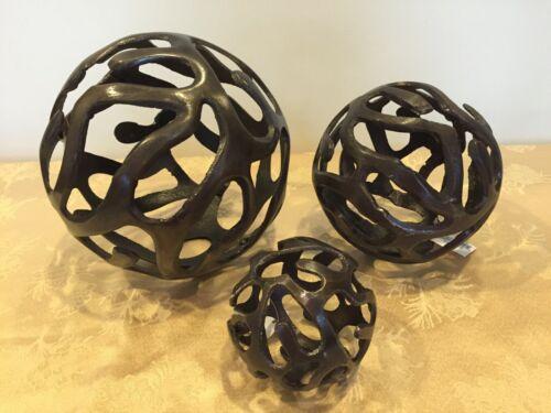 NWT - SET OF 3 - Heavy Aluminum Decor Orb Balls