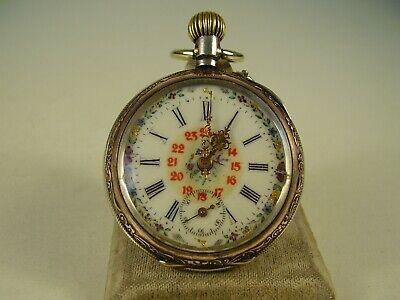 Antike 800 Silber Taschenuhr Trachten Uhr um 1890