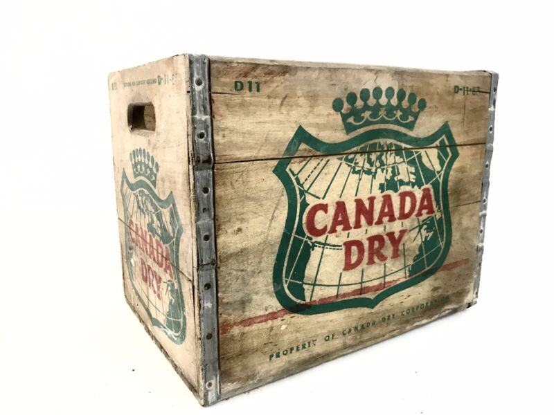Vintage Wooden Crate Canada Dry Wood Box Soda Ginger Ale Advertising 1963