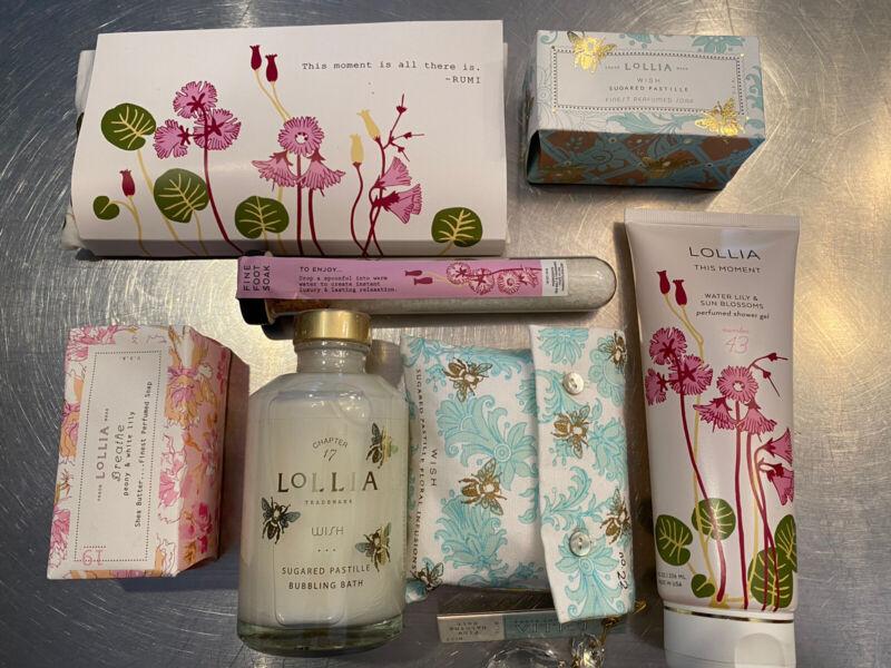 Lollia—Margot Elena Lot of 7 Full Sized Products Plus Bonus Tote, New