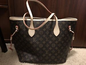 LV inspired 'Neverfall' 2pc tote & pouch