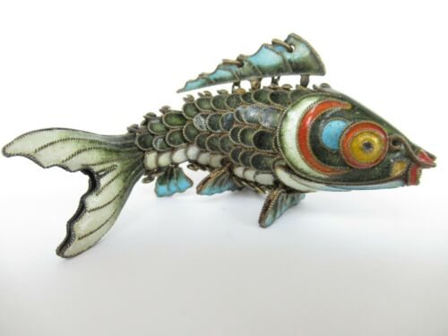 """Vintage Antique Chinese Sterling Silver Enamel Articulated Koi Fish Pendant 3"""""""