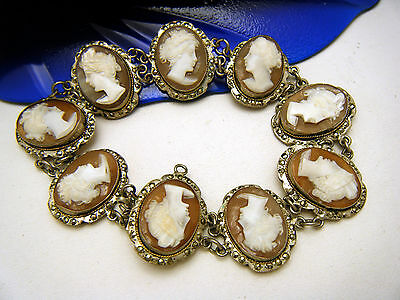 Vintage Italian Carved Sardonyx Shell Cameo Silver Marcasites Bracelet on Lookza