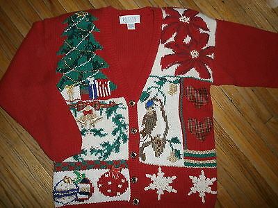 PETITE SOPHISTICATE UGLY CHRISTMAS SWEATER Party Knit Tree Bird Bells Ornaments
