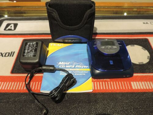 RARE!! Teac MP-330 Mini CD/MP3 Player with case manual and AC adapter. Tested!!